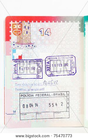 Swiss Passport Page With Visa Stamps
