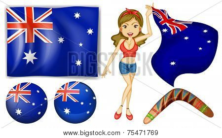 Australian theme with flag and objects