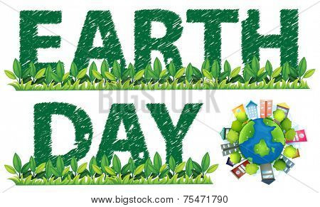 Earth Day text and logo on white
