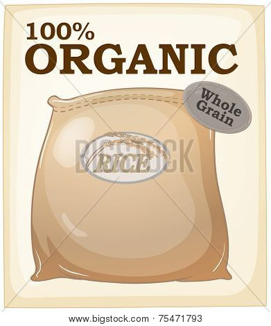 Organic rice packet poster with text