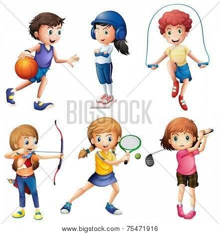 Kids playing sport on white