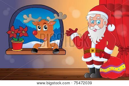 Santa Claus indoor theme 9 - eps10 vector illustration.