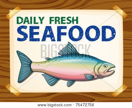 Daily fresh seafood poster on wood