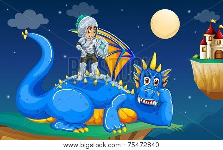 Knight standing on top of his dragon