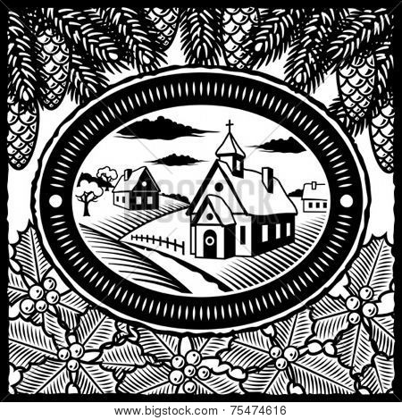 Retro winter village black and white. Vector