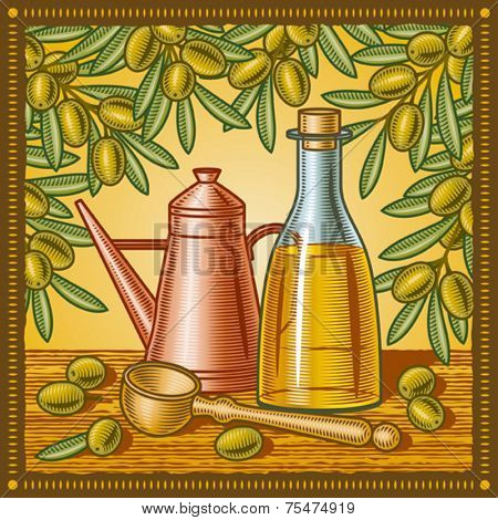 Retro olive oil still life. Vector