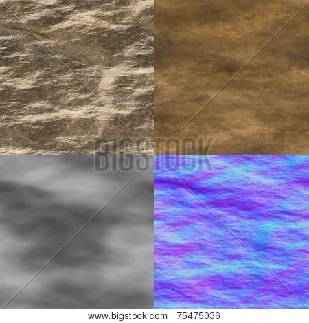 Wet Stone Seamless Generated Texture (Diffuse, Bump, Normal)