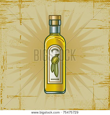 Retro Olive Oil Bottle. Vector