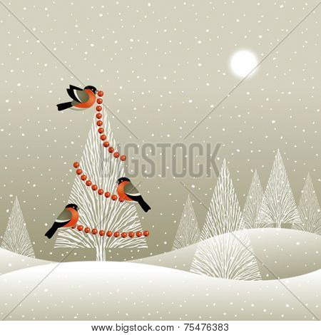 Christmas tree in winter forest. Vector