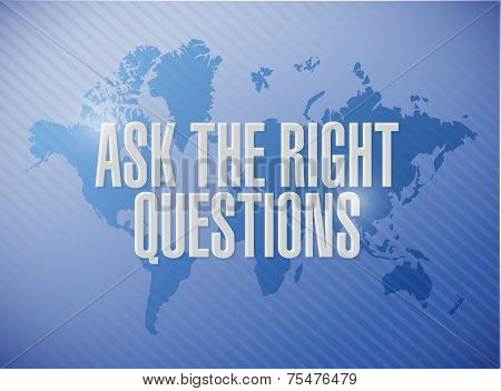 Ask The Right Questions Sign Illustration