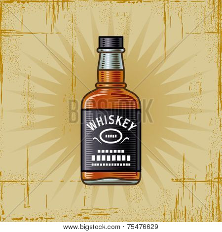 Retro Whiskey Bottle. Vector
