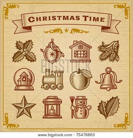 Vintage Christmas Decorations. Vector