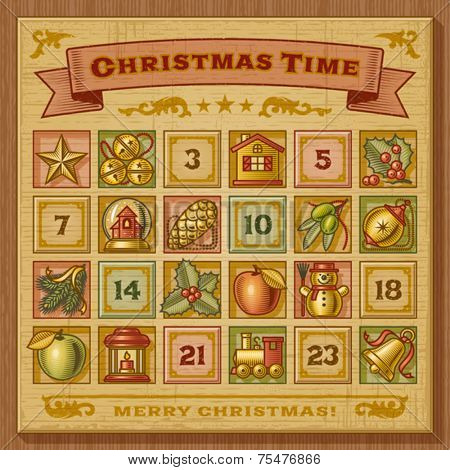 Vintage Christmas Advent Calendar. Vector