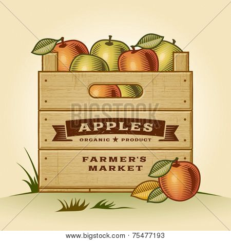 Retro crate of apples. Editable EPS10 vector illustration with clipping mask and transparency.