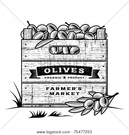 Retro crate of olives black and white. Editable vector illustration with clipping mask.