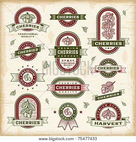 Vintage cherry labels set