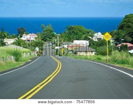 Small Village Near Ocean In Big Island, Hawaii.