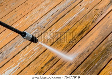 Wooden Deck Floor Cleaning With High Pressure Water Jet.