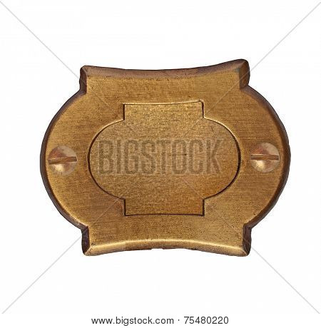 vintage brass number plate over white, clipping path