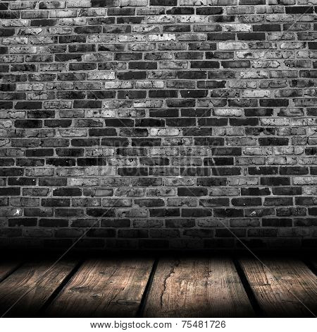 wood textured backgrounds in a room interior on the brick background