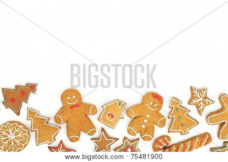 Homemade various christmas gingerbread cookies on white background