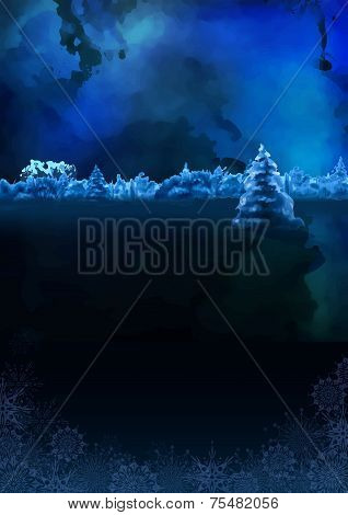 Vector Watercolor Winter Night Landscape