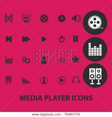 media player, music, audio interface black isolated icons, signs, symbols, illustrations set, vector