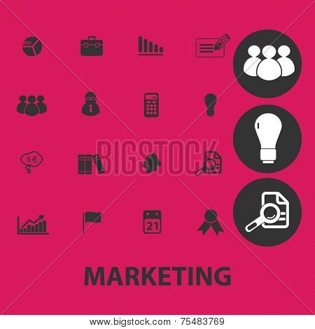 marketing, management, business black isolated icons, signs, symbols, illustrations set, vector