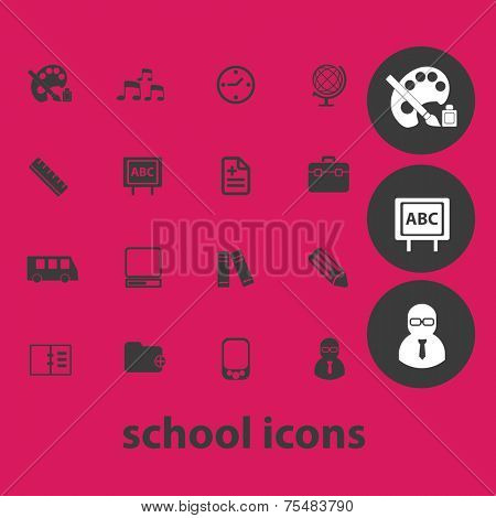 school, education, learning black isolated icons, signs, symbols, illustrations set, vector