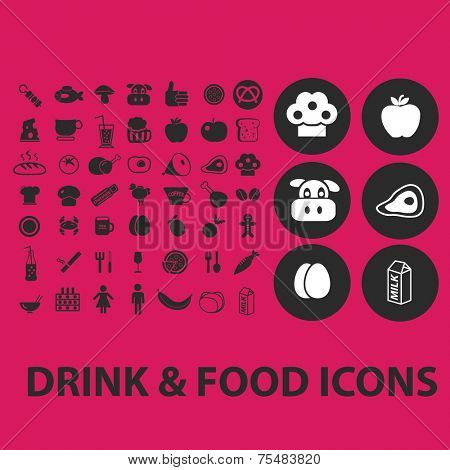 drink, food, product black isolated icons, signs, symbols, illustrations set, vector