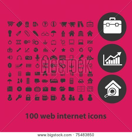 web internet, media, page, business black isolated icons, signs, symbols, illustrations set, vector