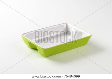 empty baking tray on white background