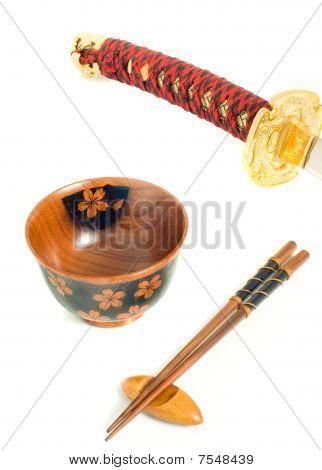 Japanese Katana, Chopsticks And Bowl