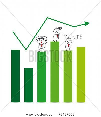 economic growth. two Businessmen and a businesswoman on a chart with a telescope and binoculars. It is a metaphor of the results and goals of a company