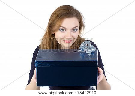 Photo of cute woman giving the gift
