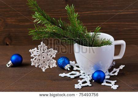 Christmas Concept (decoration). Crochet Christmas Snowflake Hanging Christmas Tree Branch