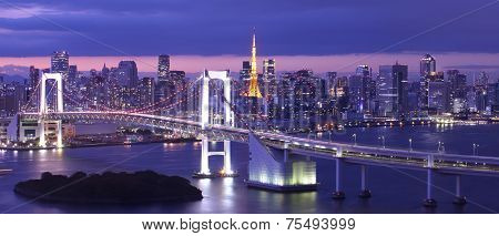 Beautiful night view of Tokyo Bay , Rainbow bridge and Tokyo Tower landmark