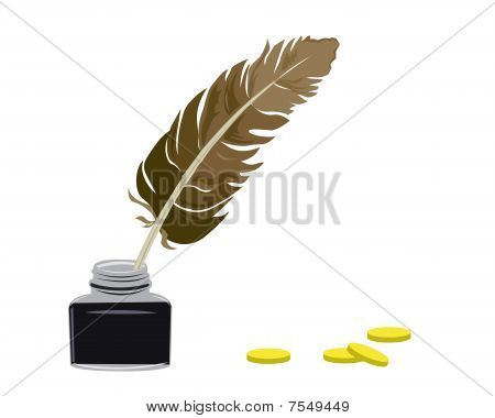 Inkstand And Feather