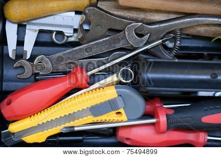 Different tools in the tool box. Repair and maintenance