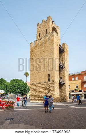 Belltower Of Oristano At Mannu Square In Sardinia