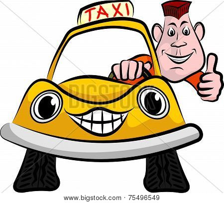 smiling and happy taxi driver