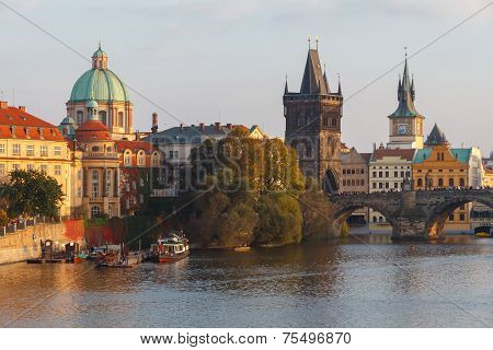 View Of Prague And The Vltava River.