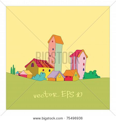 small village painted in cartoon style