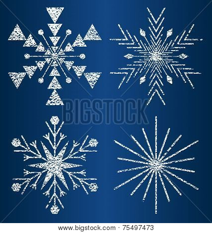 vector textured snowflakes 3