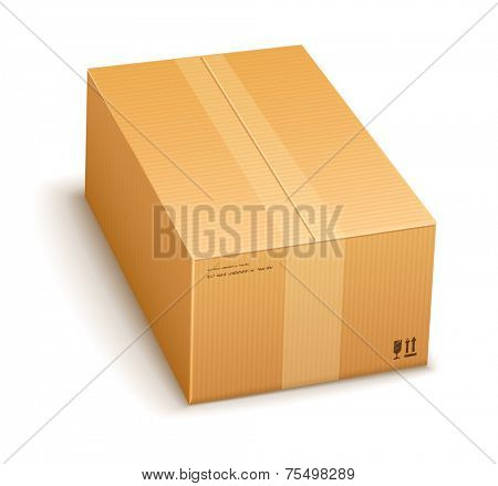 cardboard packing box closed for delivery isolated on transparent white background - eps10 vector illustration
