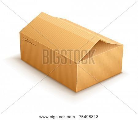 opening empty cardboard delivery parcel packaging box isolated on transparent white background - eps10 vector illustration