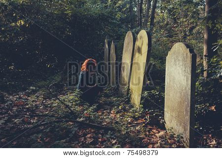 Grieving Woman By Grave