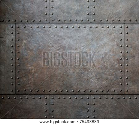 metal texture with rivets as steam punk background