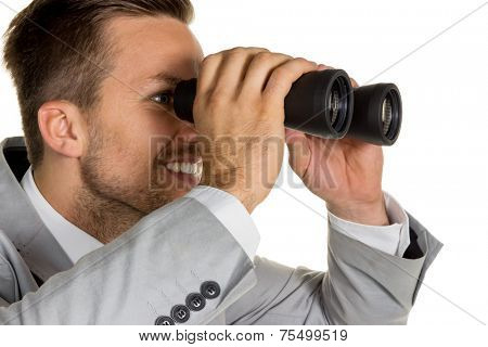 a manager (young entrepreneurs) with binoculars in search of jobs or jobs