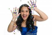 stock photo of quinceanera  - Teenage girl in prom dress with glitter - JPG